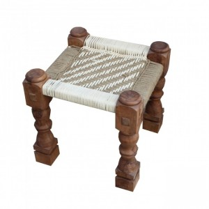 Indian Solid Wood Manjhi Woven Charpoy Ottoman Stool Brown & White