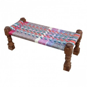 Indian Solid Wood Charpai Bench Khat Manjhi Woven Charpoy Daybed Multi Colour