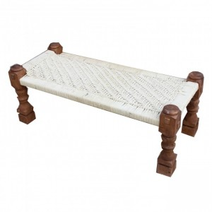 Indian Solid Wood Charpai Bench Khat Manjhi Woven Charpoi Daybed White