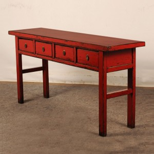 Golden Dragon Oriental Painted Solid wood 4 Drawer Hall Table Red 160x35x75cm