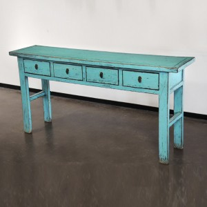Golden Dragon Oriental Painted Solid wood 4 Drawer Hall Table Turquoise Blue