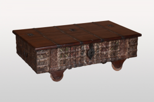 Reclaimed Solid Wood Storage Antique Chest Brown 130cm