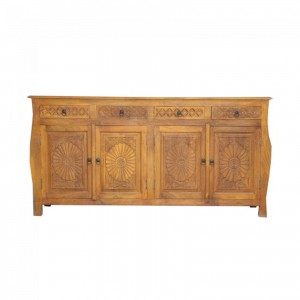 French Colonial Style Carved Large Sideboard