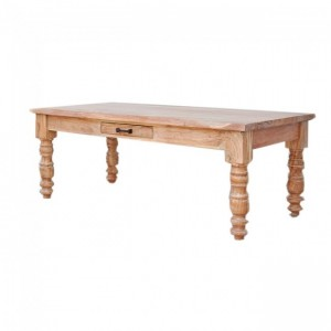 French Style Coffee Table With Drawer White Wash
