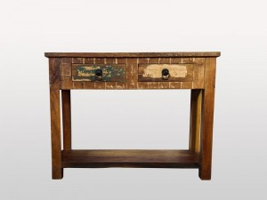 Rustic Solid Wood 2 Drawers Console Table 104cm