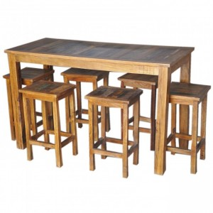 Corso Reclaimed & Mango Wood Bar Setting Set with Table and Stools Natural