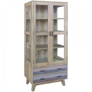 Corso Italy Mango Wood Grey Modern Cabinet Display Shelf with glass doors 90cm