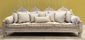 Mughal Garden Hand Carved Arch day-bed Sofas  White Wash Finish