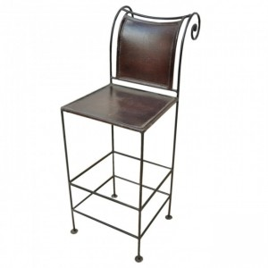 Aged Leather Curl Metal High Bar Chair