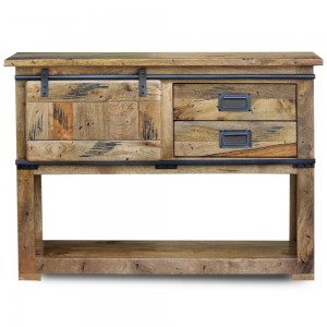 Cromer Slider Mango Wood Industrial Console Hall Table Desk Buffet Sideboard