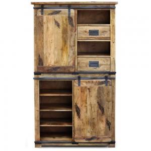 Cromer Slider Mango Wood Industrial Cabinet Pantry Wardrobe Cupboard