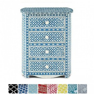 Maaya Bone inlay Blue Floral Chest of 4 Drawers Tallboy bedside