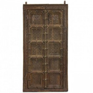 Hand Carved Indian Antique brass work Brown Door