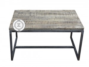 Industrial Metal Factory Indian Solid Wood Side Lamp Table Whitewash