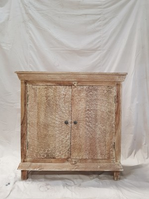 v Indian Hand Carved Solid Wooden Beautiful Buffet Storage Sideboard Cabinet  90x40x90cm