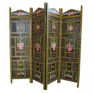 Hand Carved Indian Partition Screen room divider Black