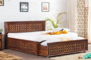 Mogra Antique Brass Work Solid Wood Brass Bed C with DUAL Storage