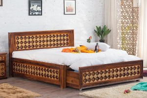 Mogra Antique Brass Work Solid Wood Brass Bed A with DUAL Storage