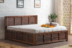Embossed Antique Brass work Solid Wood Brass Panache Bed with Storage