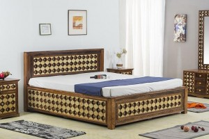 Mogra Antique Brass Work Solid Wood Brass Bed A with Storage