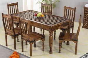 Mogra Antique Brass Work Solid Wood Brass Dining Set C