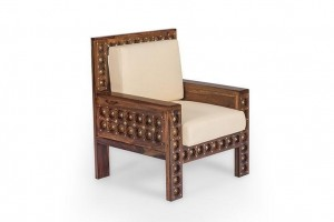 Mogra Antique Brass Work Solid Wood Brass Royal Sofa Single Seater