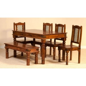 Takat 6 seater 150cm dining setting with 4 chairs & one bench