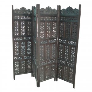 Dynasty French Hand carved Indian Wooden Partition Screen Room Divider Walnut