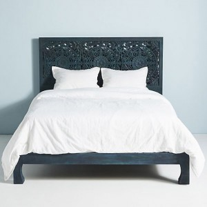 Dynasty low line hand carved Indian wooden bed frame Indigo