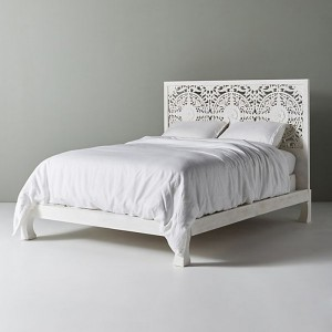 Dynasty low line hand carved Indian wooden bed frame White