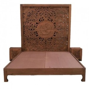 Dynasty hand carved Indian Solid wooden bed frame Honey
