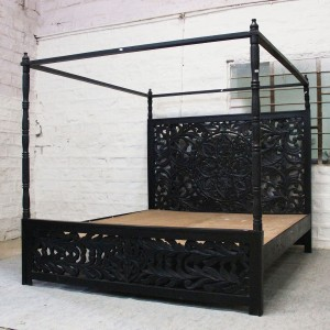 Dynasty hand carved Indian wooden 4 post bed frame Black