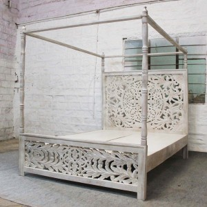 Dynasty hand carved Indian wooden 4 post bed frame White 2