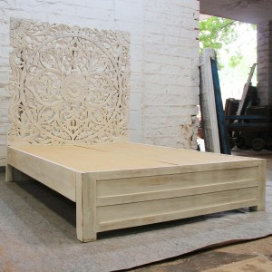 Dynasty hand carved Indian Solid wooden Sahara bed frame White