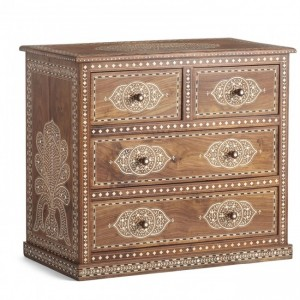 Meera Teak Rich Bone Inlay Chest of 4 drawer dresser