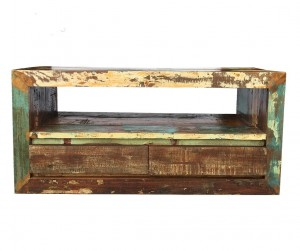 Rustica Indian Reclaimed Wood Tv Cabinet With 2 Drawers Natural  45 x 120 x 55 cm