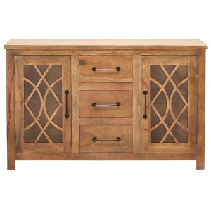 French Arched Indian Solid Wood Buffet With Glass Door And 3 Centered Drawers