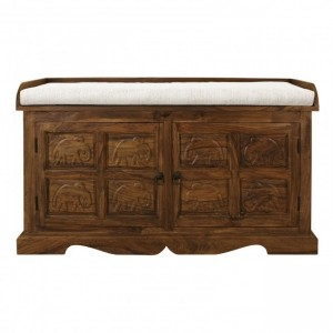 Elephant design solid wood storage chest with seat