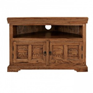 Elephant Design Indian solidwood Corner TV Stand