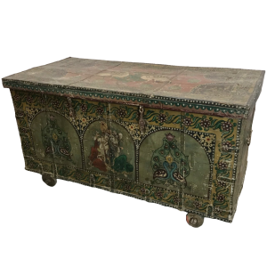Vintage Hand Painted Indian Solid Wood Merchants Chest Storage Box