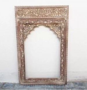 Indian Hand Carved Mehrab Wooden Mirror Frame White Distress