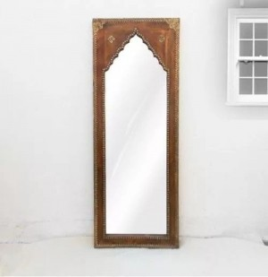 Indian Hand Carved Natural Polish Mehrab Brass Mirror frame