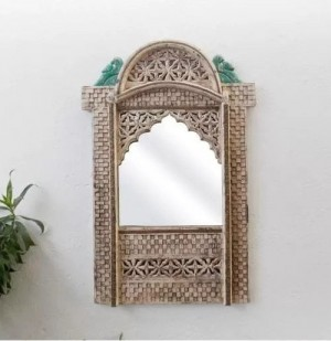Indian Hand Carved Mehrab Jharokha Mirror frame Natural