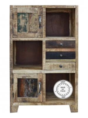Hand Carved Indian Bookcase Small chest of drawers Natural