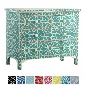 Maaya Bone inlay Blue Star Chest of 3 Drawers Dresser