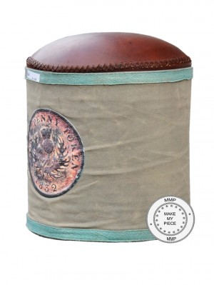 Industrial Cotton and Leather Seating Pouffe