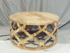 Bristol Floral Carved Round Coffee Table Natural 80cm