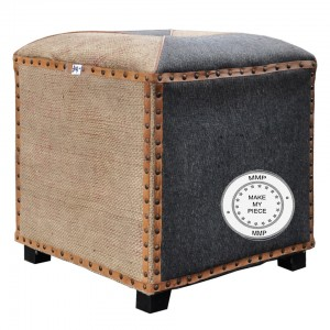 Industrial Mango Wood Cotton and Leather Seating Pouffe