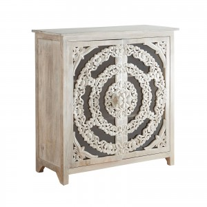 Floral Arched Carved Glass Doors Sideboard
