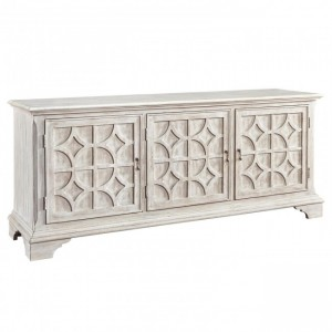 French Arched Carved Diamond Doors Buffet Sideboard Whitewash 160x40x90cm
